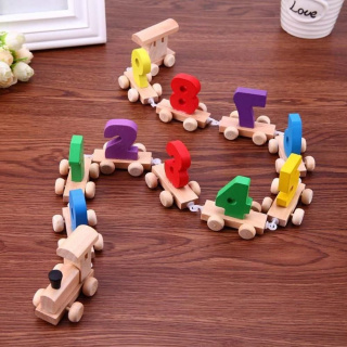 Wooden toy train with numbers