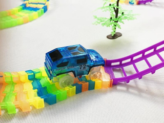 Two-storey track with a toy car