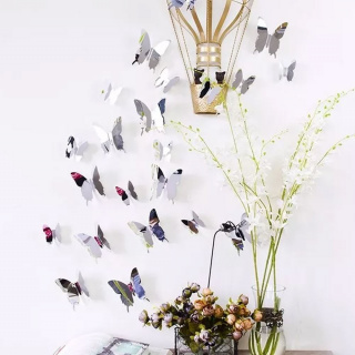 Mirror butterfly 12 pcs - silver
