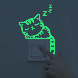Shining stickers over light switch - kitty