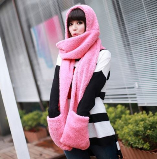 Scarf with cap and 3in1 gloves - pink
