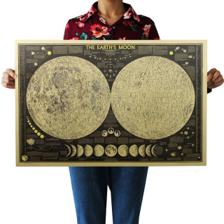 Retro Poster - Map of the Moon